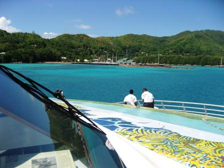 On the ferry coming up to Praslin Harbour