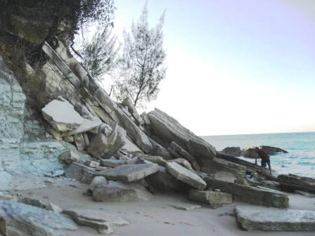Fallen cliffside at Nosy Shaba
